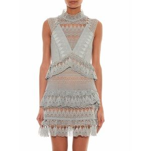 Auth. Self Portrait Blue tiered lace mini dress